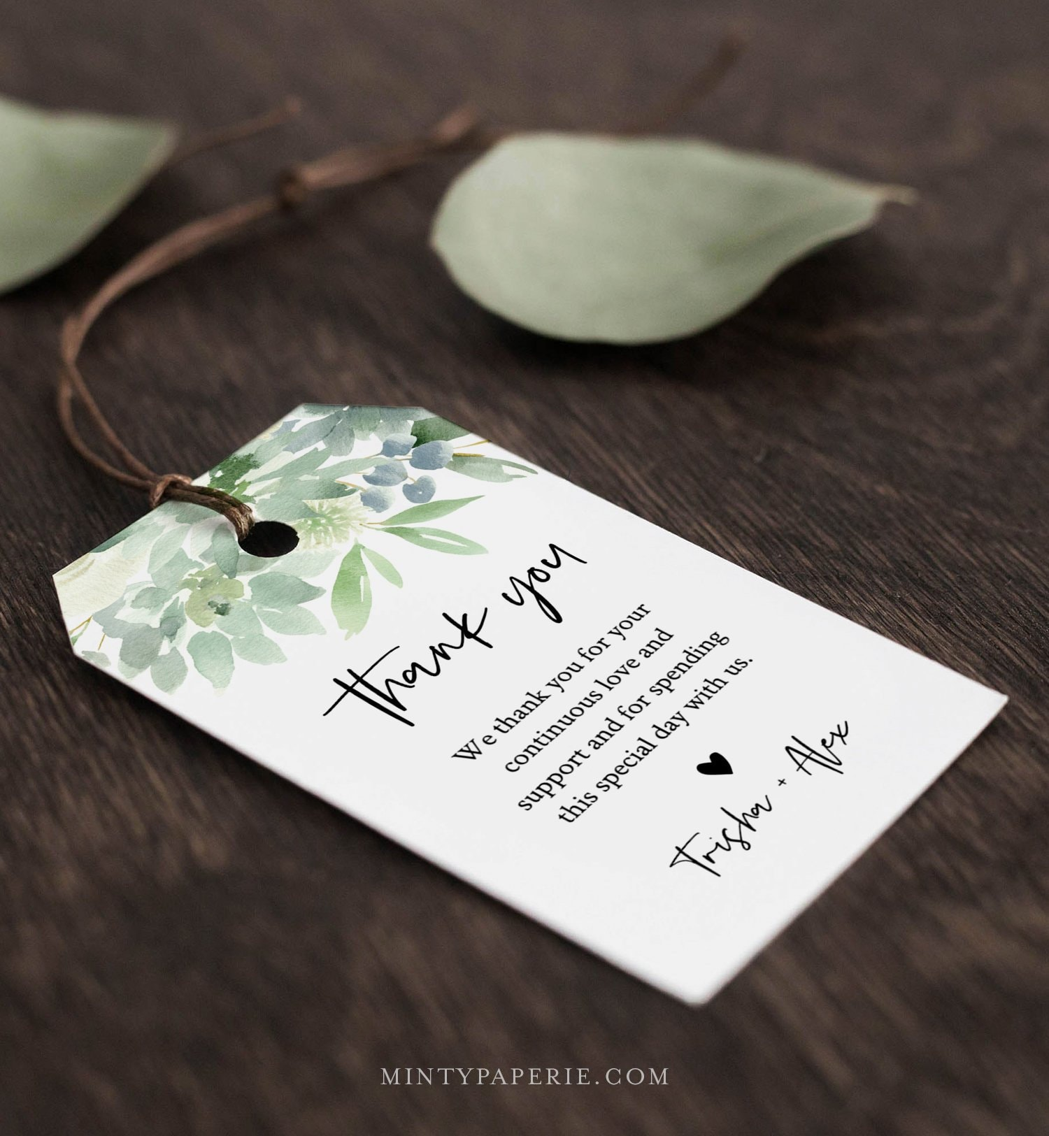 Succulent Favor Tag Template Thank You Tag Bridal Shower Or Wedding Welcome Bag Instant Download 100 Editable Text Templett 075 124ft