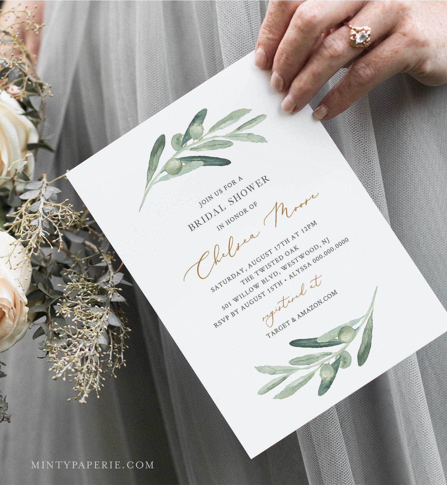 3544380eb2e2 Olive Greenery Bridal Shower Invitation Printable