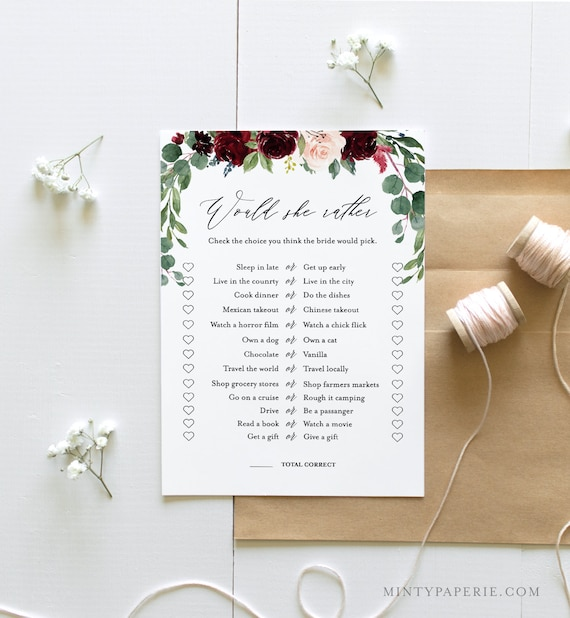 Would She Rather Bridal Shower Game Template, Custom Questions, Editable Text, DIY Printable Boho Shower Game, Instant Download #062-130BG