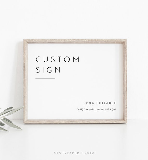 Minimalist Custom Sign Template, Simple Modern Wedding or Bridal Shower Table Sign, Create Any Sign, INSTANT DOWNLOAD, Templett #094-153CS