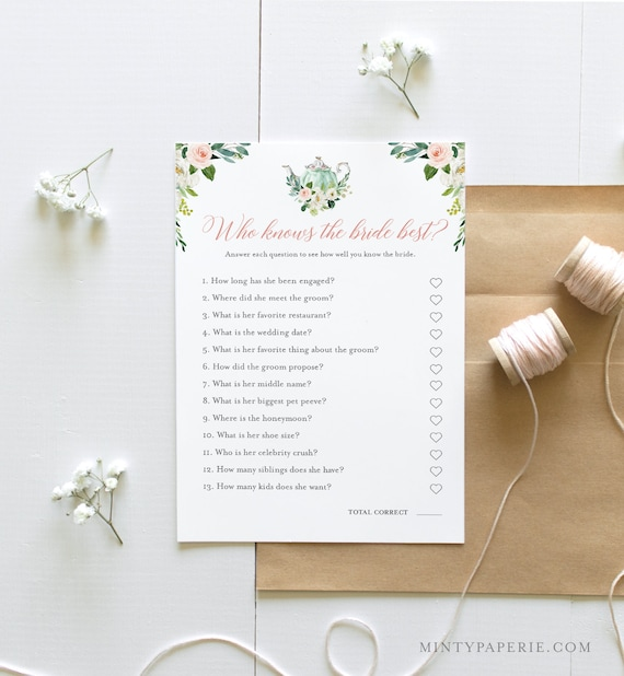 Who Knows the Bride Best Bridal Shower Game, Printable Tea Party Bridal Shower Game, Editable Template, Instant Download, Templett 085-247BG