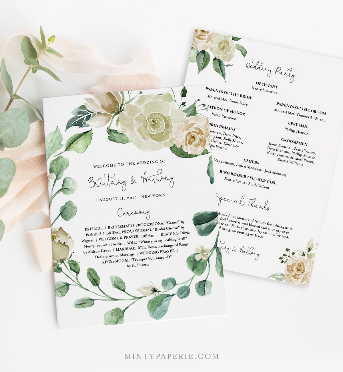 wedding program template fan or flat instant download printable