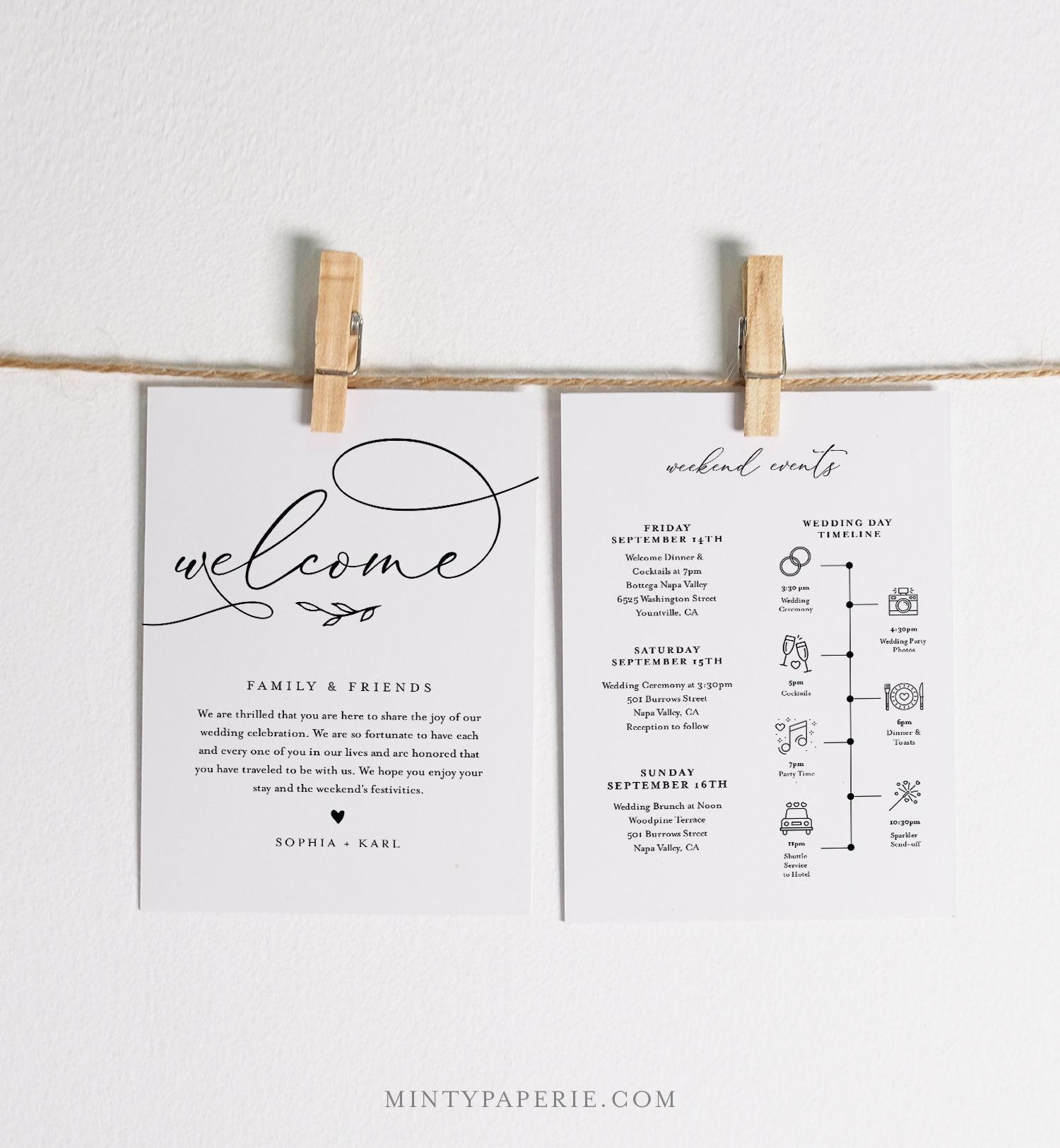 Welcome Bag Letter Timeline Template Printable Wedding Order