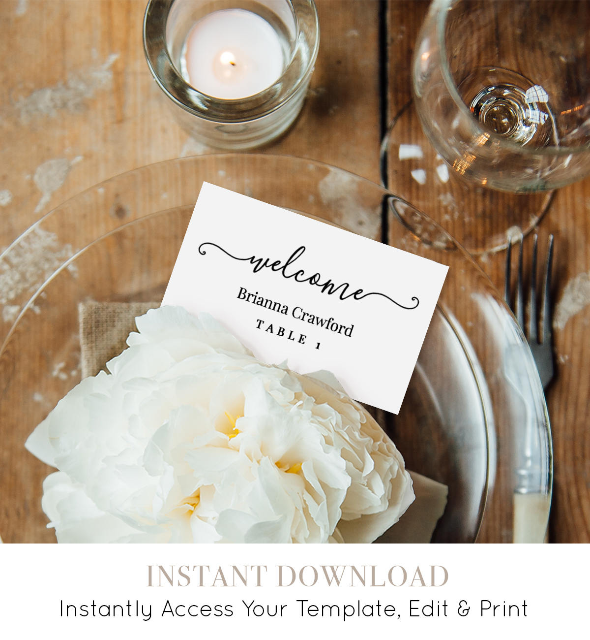 Welcome Place Card Template, Printable Wedding Escort Card, Name ...