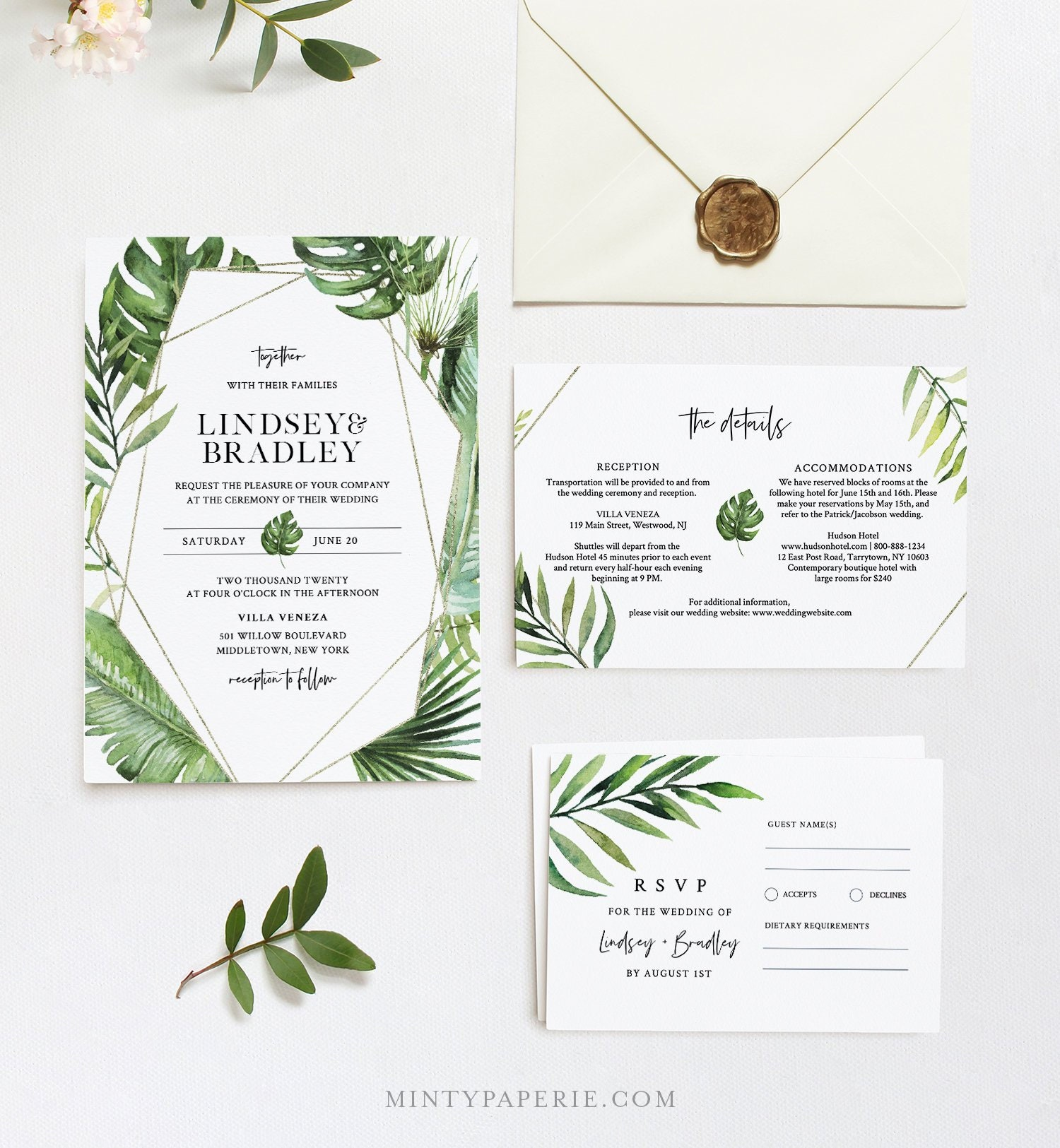 #TR365P Templett Tropical Beach Wedding Invitation Set Template with Rsvp and Details Card DIY 100/% Editable Template INSTANT DOWNLOAD