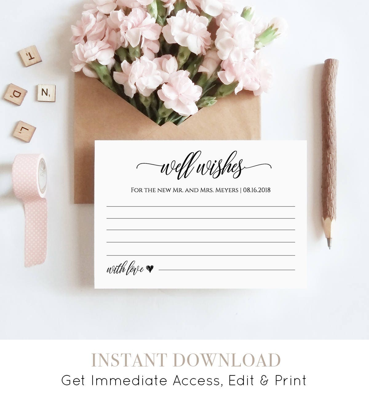 well wishes printable wedding advice card template for newlyweds bridal shower instant download 100 editable digital 023 104ec