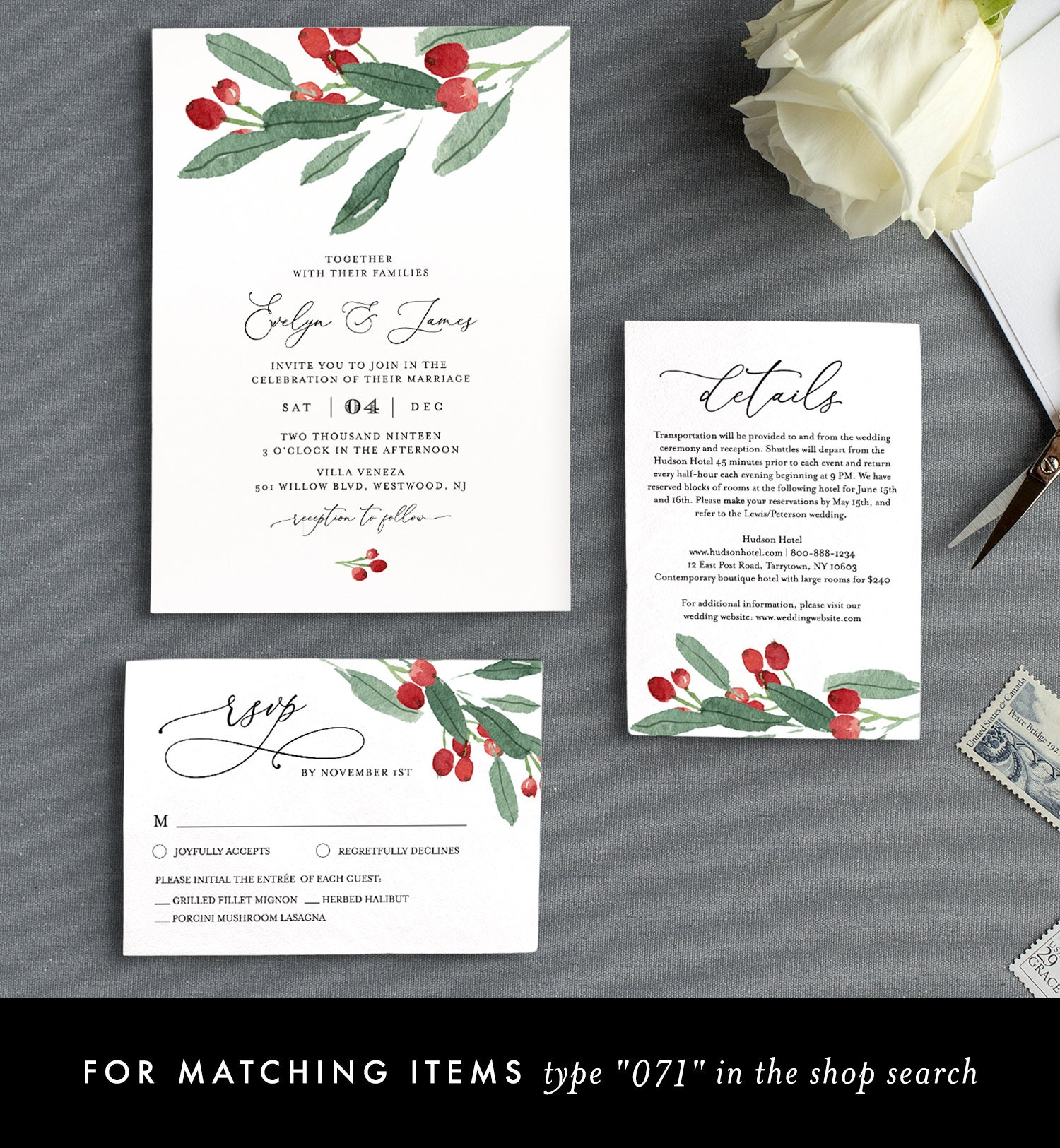 Winter Wedding Seating Chart Template, Holly Seating Cards
