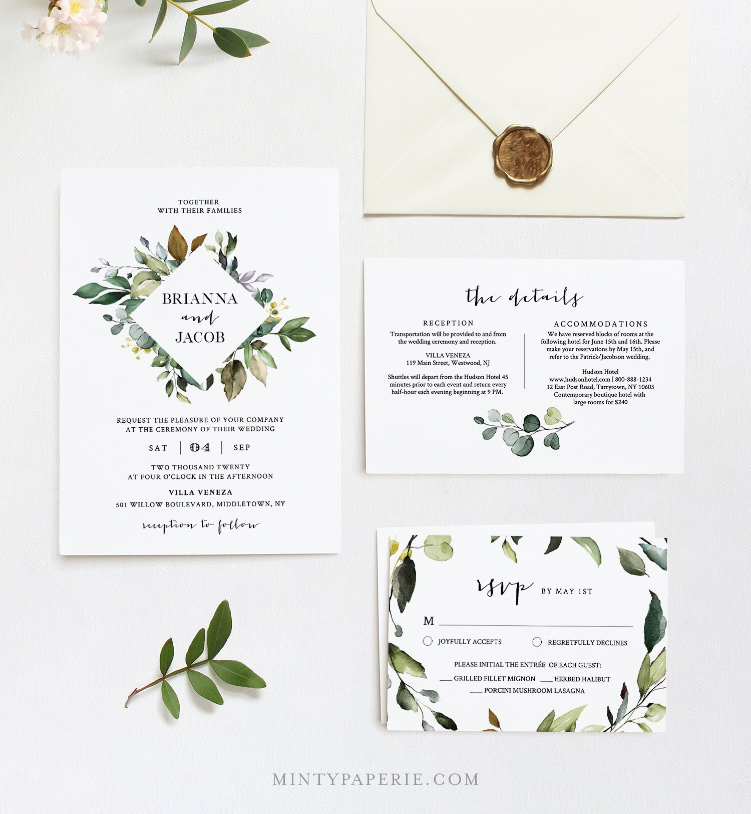greenery wedding invitation template printable bohemian wedding invite rsvp details 100 editable text instant download diy 005a