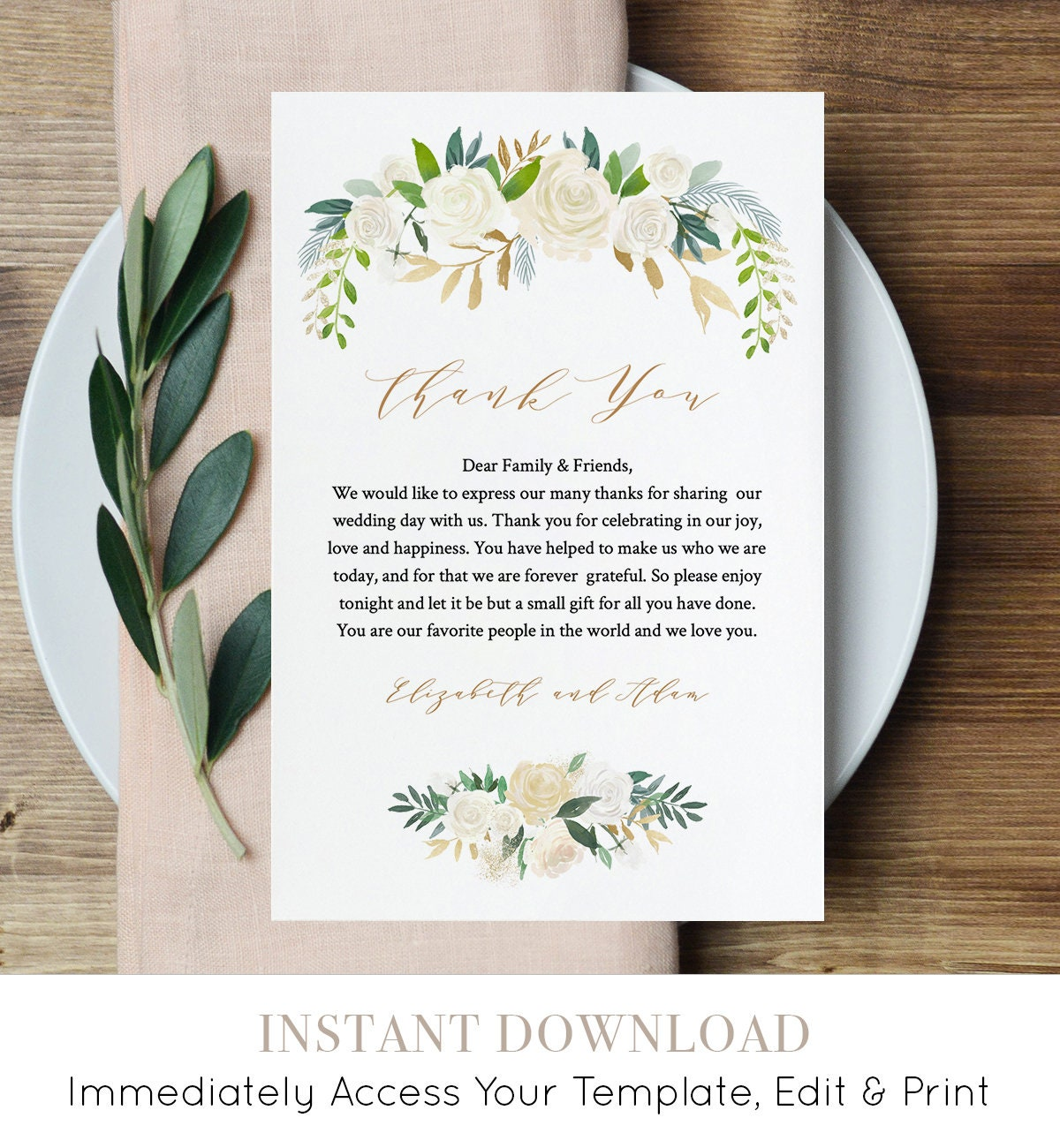 printable wedding thank you letter napkin note in lieu of favor card template floral wedding reception card instant download 021 107tyn