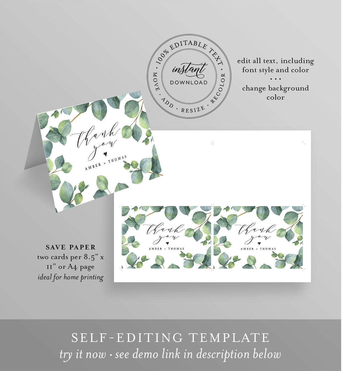thank you card template instant download 100 editable