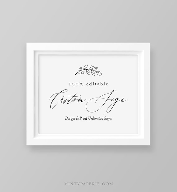 Editable Wedding Sign Template, Create Unlimited Custom Signs, DIY Printable Tabletop Signs, INSTANT DOWNLOAD, Templett 5x7, 8x10 #052-121CS