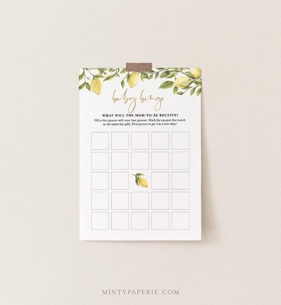 Baby Bingo Game, Printable Summer Citrus Lemon Baby Shower Game, DIY Template, 100% Editable Text, Instant Download, Templett  #089-108BASG