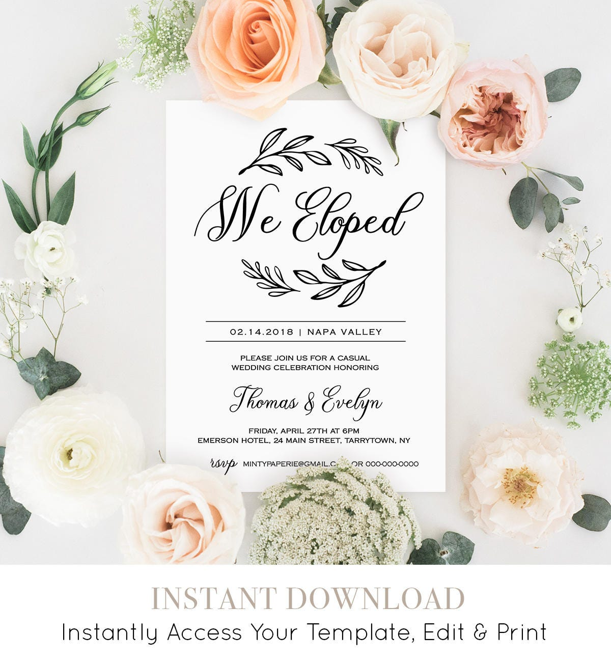 We Eloped Invitation Template Printable Elopement Announcement Rustic Wedding Reception Party Instant Download Fully Editable 027 107EL