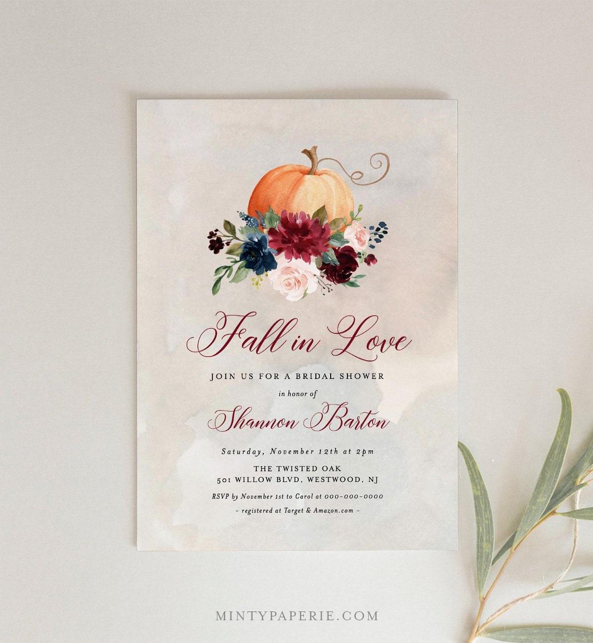 Fall Bridal Shower Invitation Download Instant Download Autumn Wedding Pumpkin Invitation Template Printable Invitation