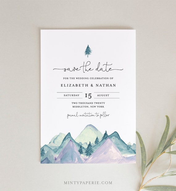 Mountain Save the Date, 100% Editable Text, Printable Rustic Pine Wedding Date Template, Woodland, Nature, INSTANT DOWNLOAD #063-153SD