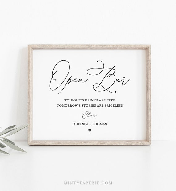 Open Bar Wedding Sign Template, Printable Funny Bar Sign, 100% Editable, INSTANT DOWNLOAD, Bar Menu, Cocktail, Alcohol, Drinks #CHM-11