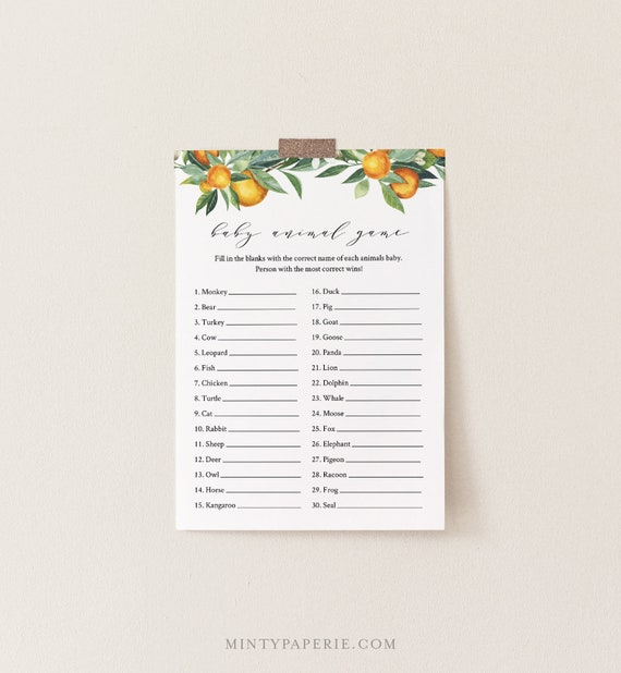 Baby Animal Game, Summer Citrus Orange Baby Shower Game Template, Editable Text, Printable, Instant Download, Templett, DIY #084-143BASG