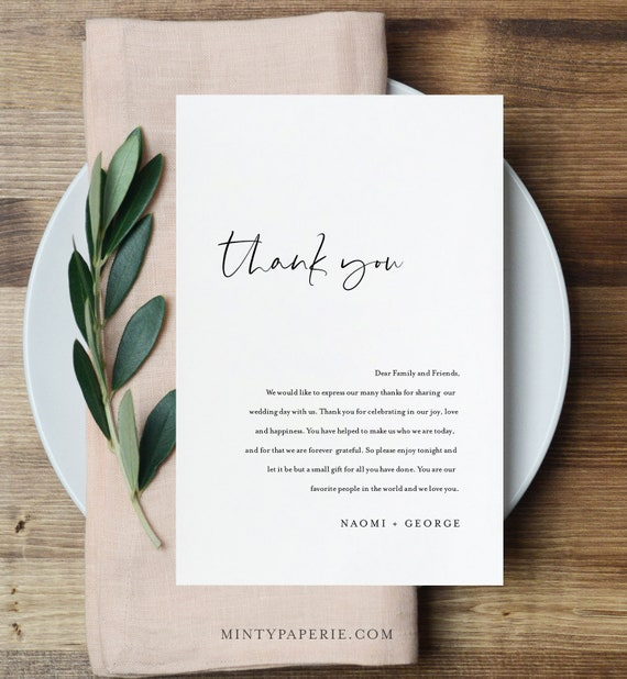 Modern Thank You Letter, Minimalist Napkin Note, Printable Menu Thank You, Editable Template, Instant Download, Templett 4x6 #096-140TYN