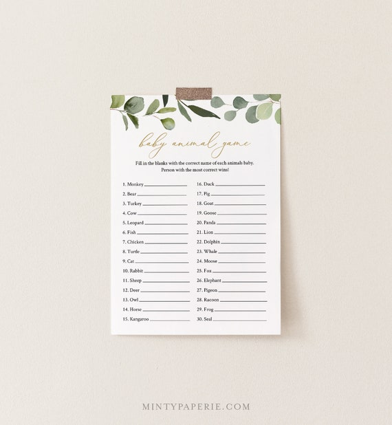 Baby Animal Game, Greenery & Gold Baby Shower Game Template, 100% Editable Text, Printable, Instant Download, Templett, DIY #056-213BASG