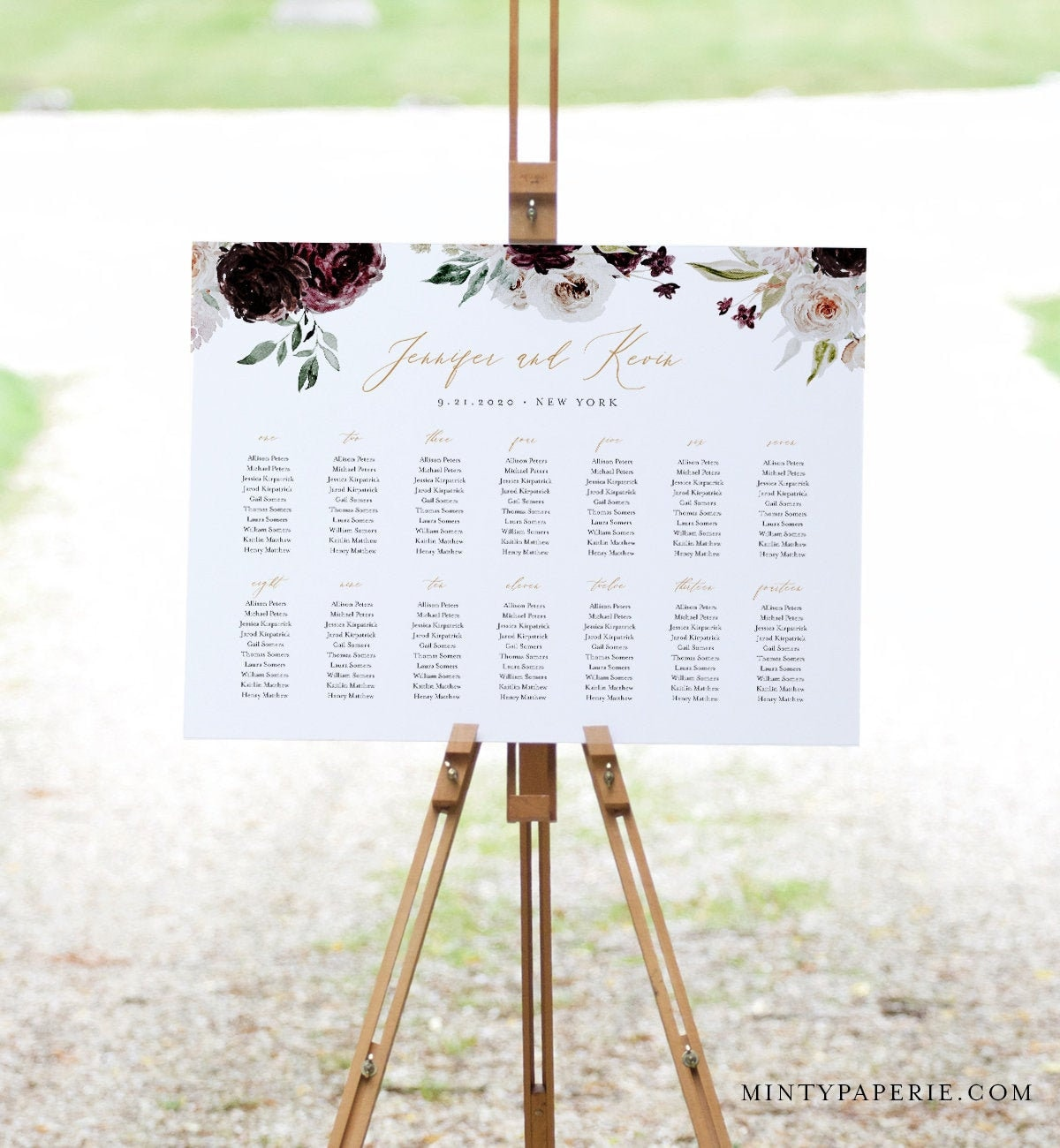 Seating Chart Template, Moody Florals, Printable Wedding ...