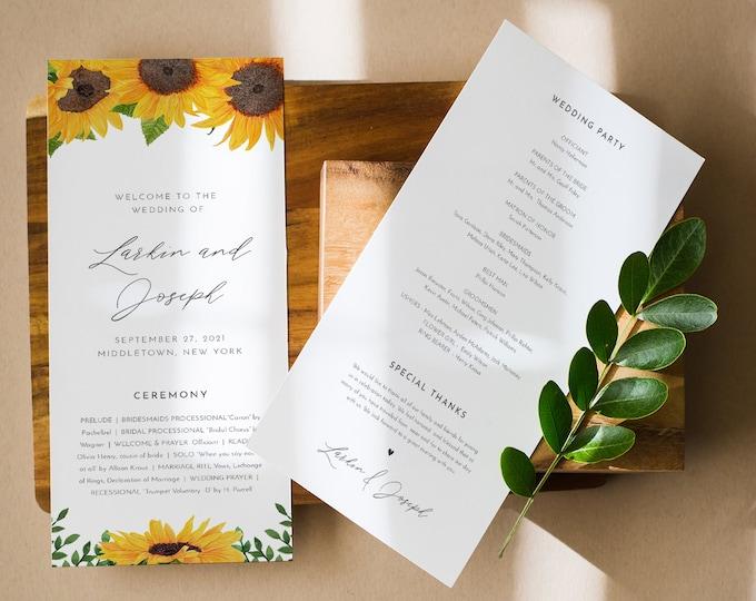 Sunflower Wedding Program Template, Rustic Sunflower Order of Service, Editable, Printable Program, Instant Download, Templett #0010-246WP