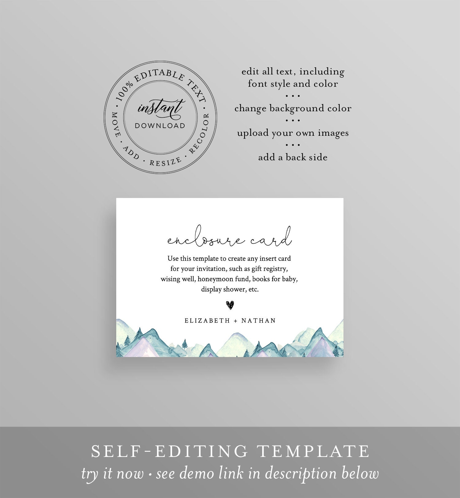 mountain enclosure card template  wedding  bridal shower