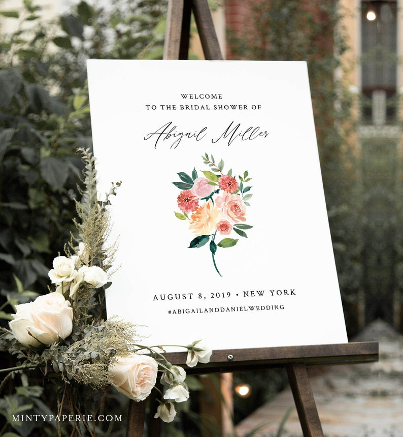 Editable Templett #002-171LS Wedding or Baby Shower Poster Floral Summer Garden Bridal Shower Instant Download Welcome Sign Template