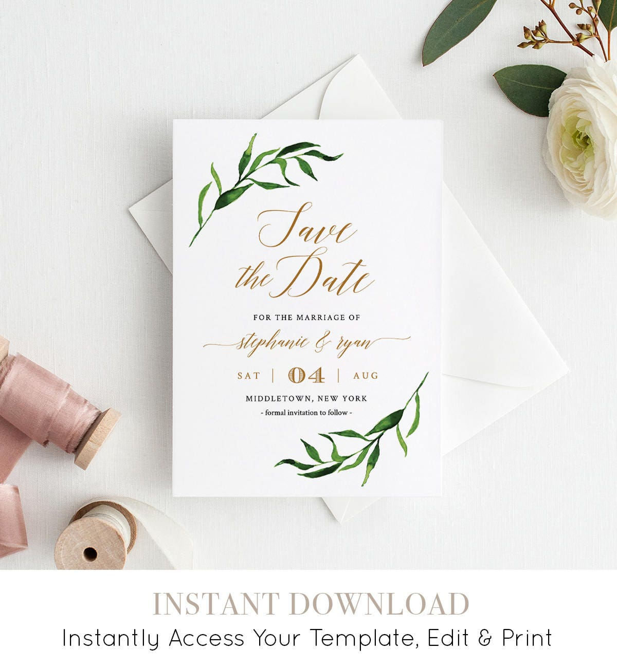 save the date printable save the date cards template greenery wedding watercolor instant download fully editable templett 013 102sd