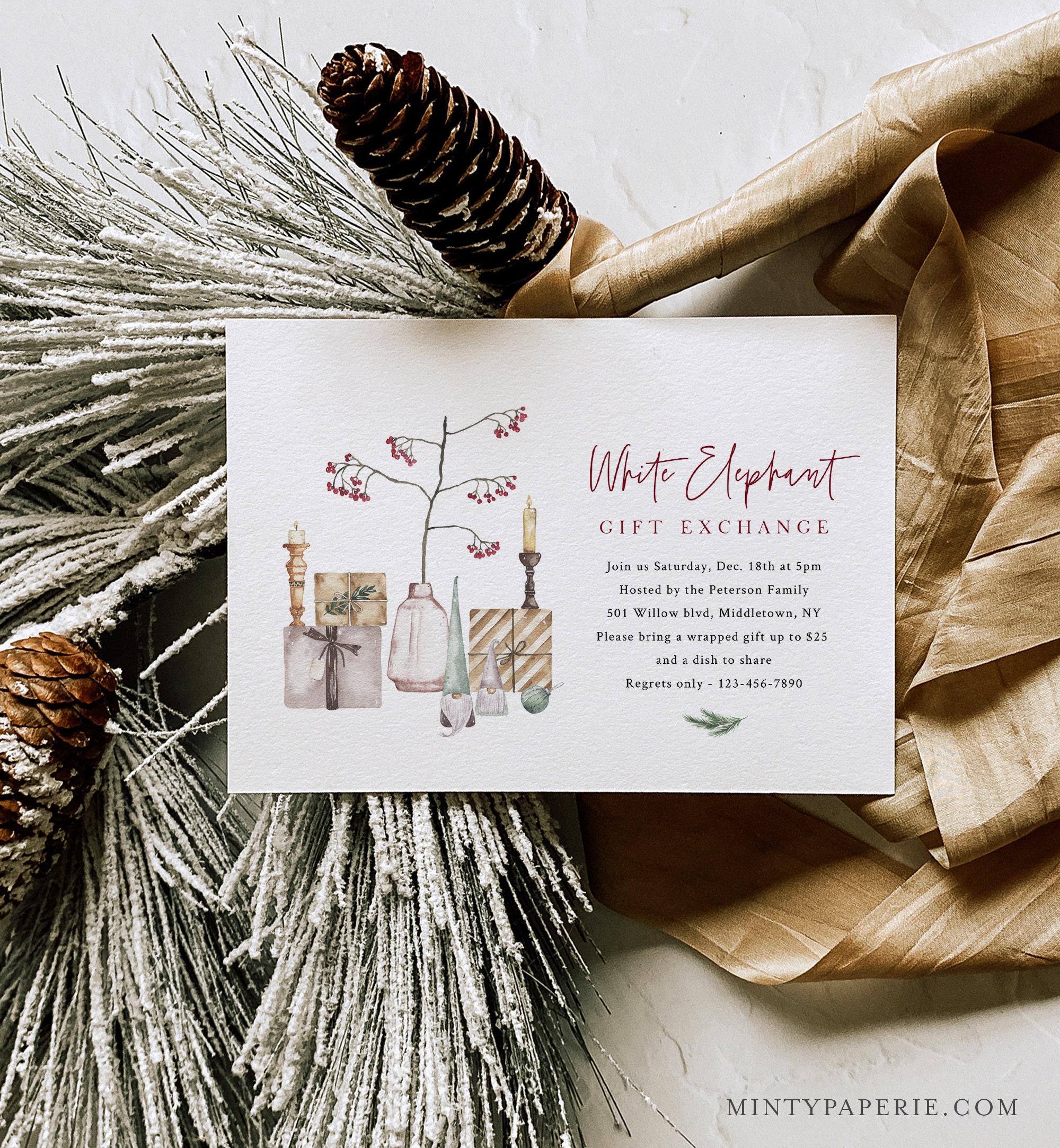 White Elephant Party Invitation Template, Secret Santa, Gift ...
