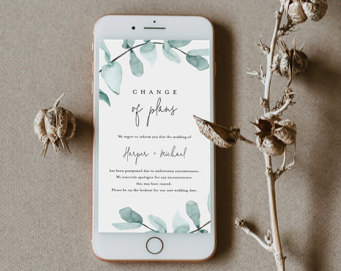 Change of Plans Announcement, Postponed Wedding Date, Digital, Social Media, Text Message, 100% Editable, INSTANT DOWNLOAD 049-103PA