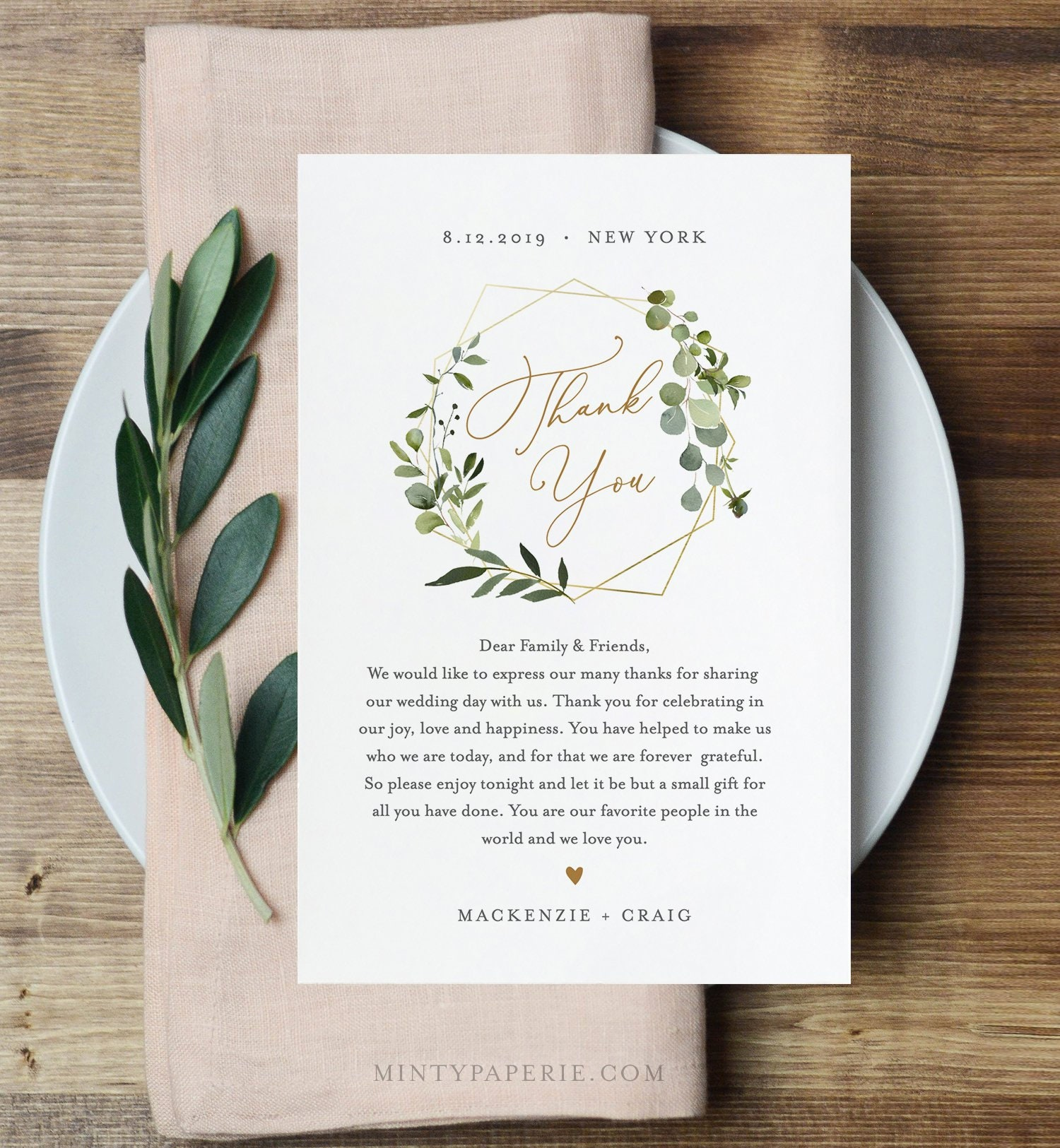 VW29 Printable Wedding Thank You Card Rustic Greenery Wedding Thank You Card Template Golden Greenery 4.25x5.5 inches