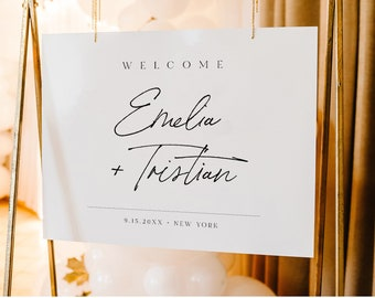 Modern Welcome Sign, Printable Wedding Reception Poster, Bridal Shower Sign, Instant Download, Editable Template, Templett #0024-245LS