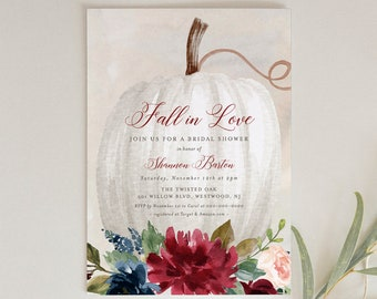 Editable Fall Bridal Shower Invitation Template, Printable Boho Pumpkin Wedding Shower Invite, Fall in Love, INSTANT DOWNLOAD #072A-198BS