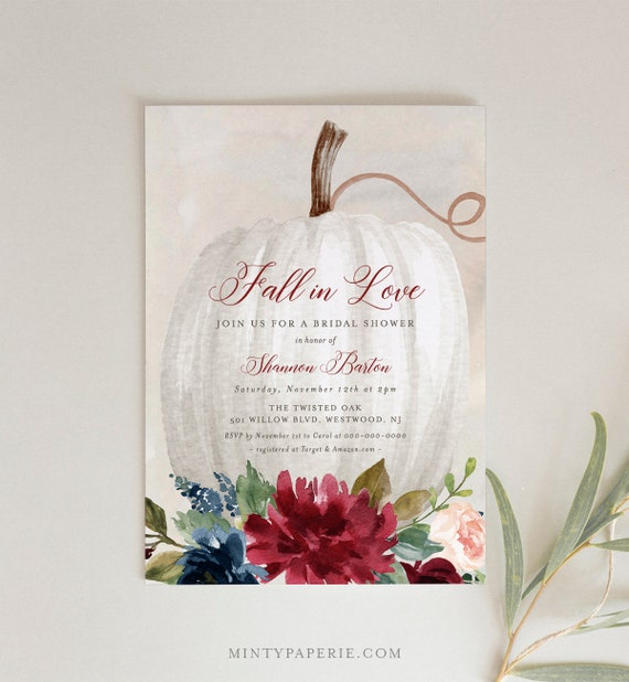 Editable Fall Bridal Shower Invitation Template, Printable Boho Pumpkin Wedding Shower Invite, Fall in Love, INSTANT DOWNLOAD #062-198BS