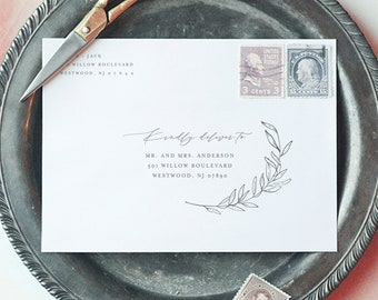 Laurel Envelope Template, Minimalist Wedding Address Printable, Instant Download, Editable Text, Templett, A1, A7 Sizes #0006B-148EN