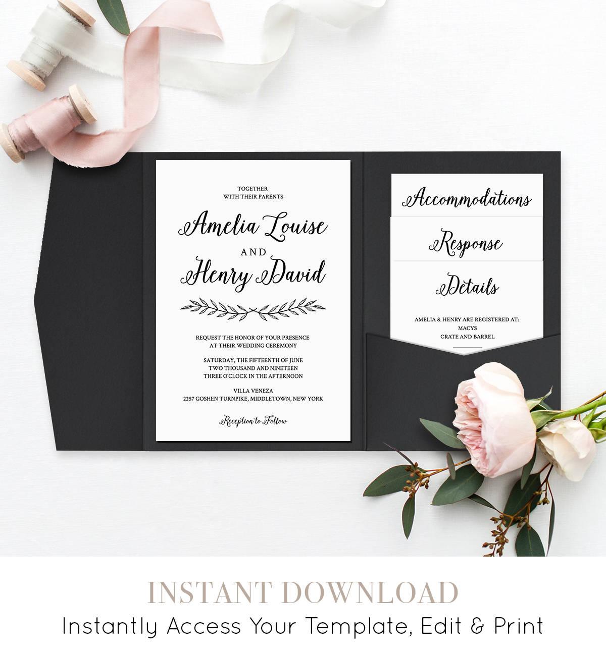 Wedding Invitation Set, Pocket Fold, Printable Calligraphy Invite ...