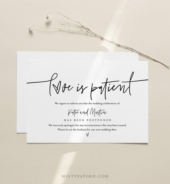 Love is Patient Postcard, Minimalist Postponed Wedding Date Announcement Template, 100% Editable, Instant Download, Templett, 4x6 0009-124PA