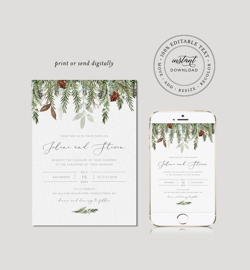 Templett #0017 Christmas Instant Download Detail RSVP Winter Wedding Invitation Set Minimalist Pine Wedding Invite Editable Template
