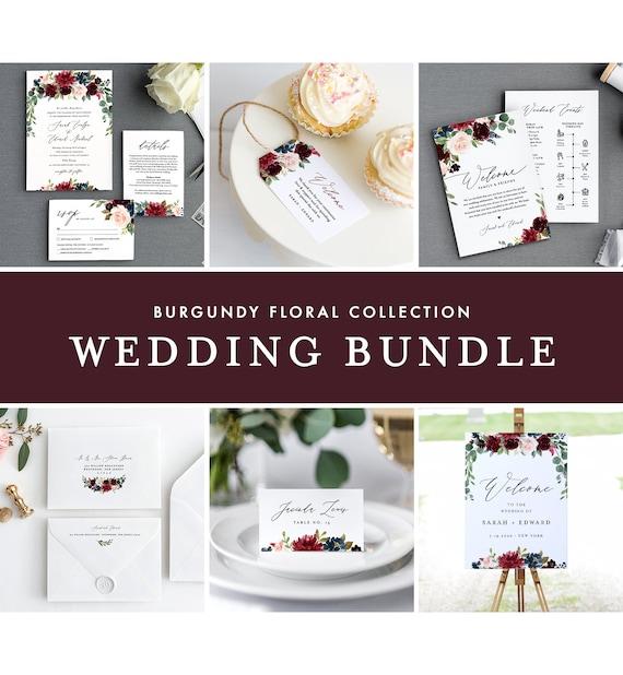 Burgundy Wedding Bundle, Boho Floral & Greenery Invitation Suite, Editable Templates, DIY, Instant Download, Templett #062-BUNDLE