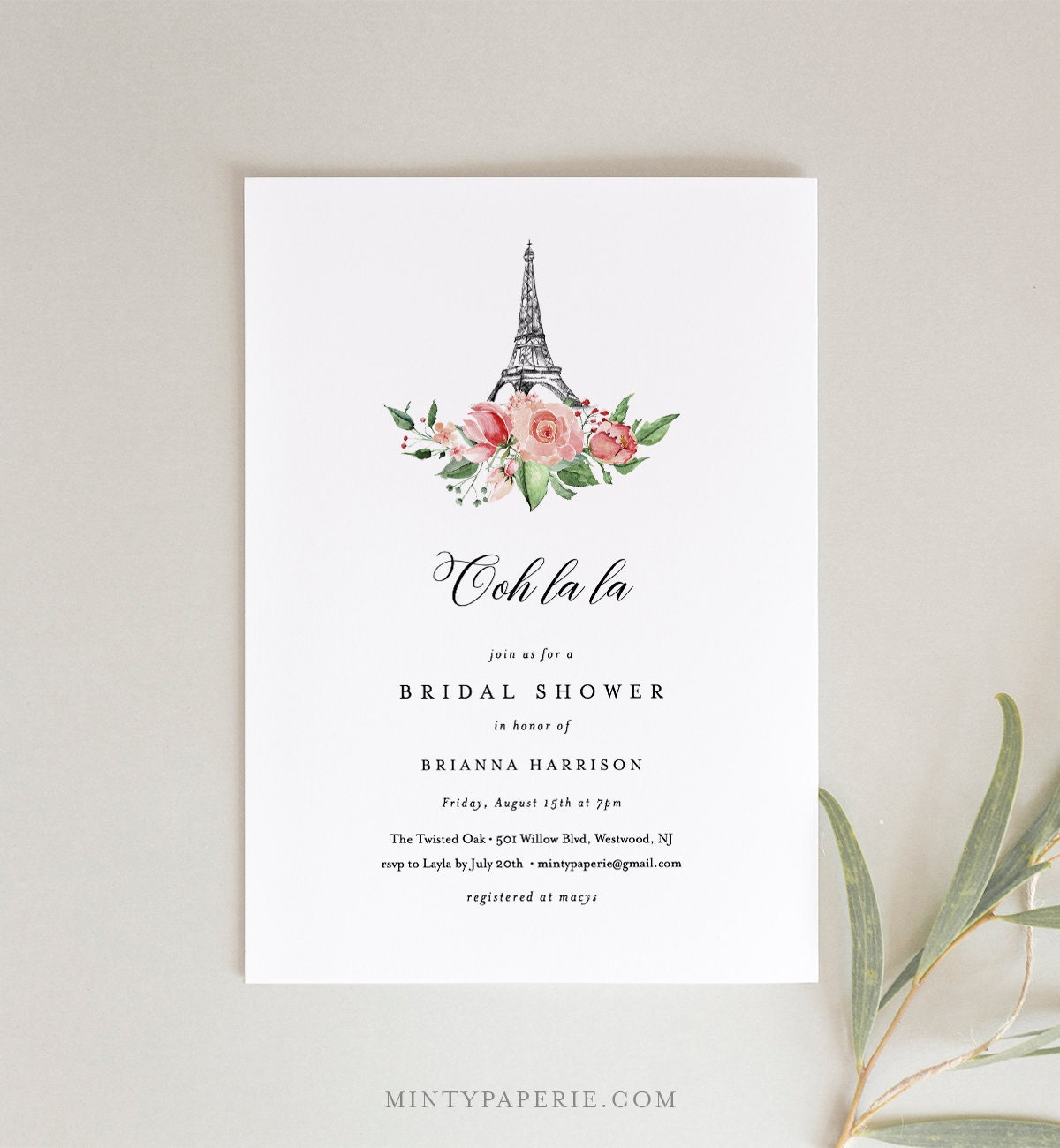 photo relating to Eiffel Tower Template Printable known as Paris Bridal Shower Invitation Template, Printable French