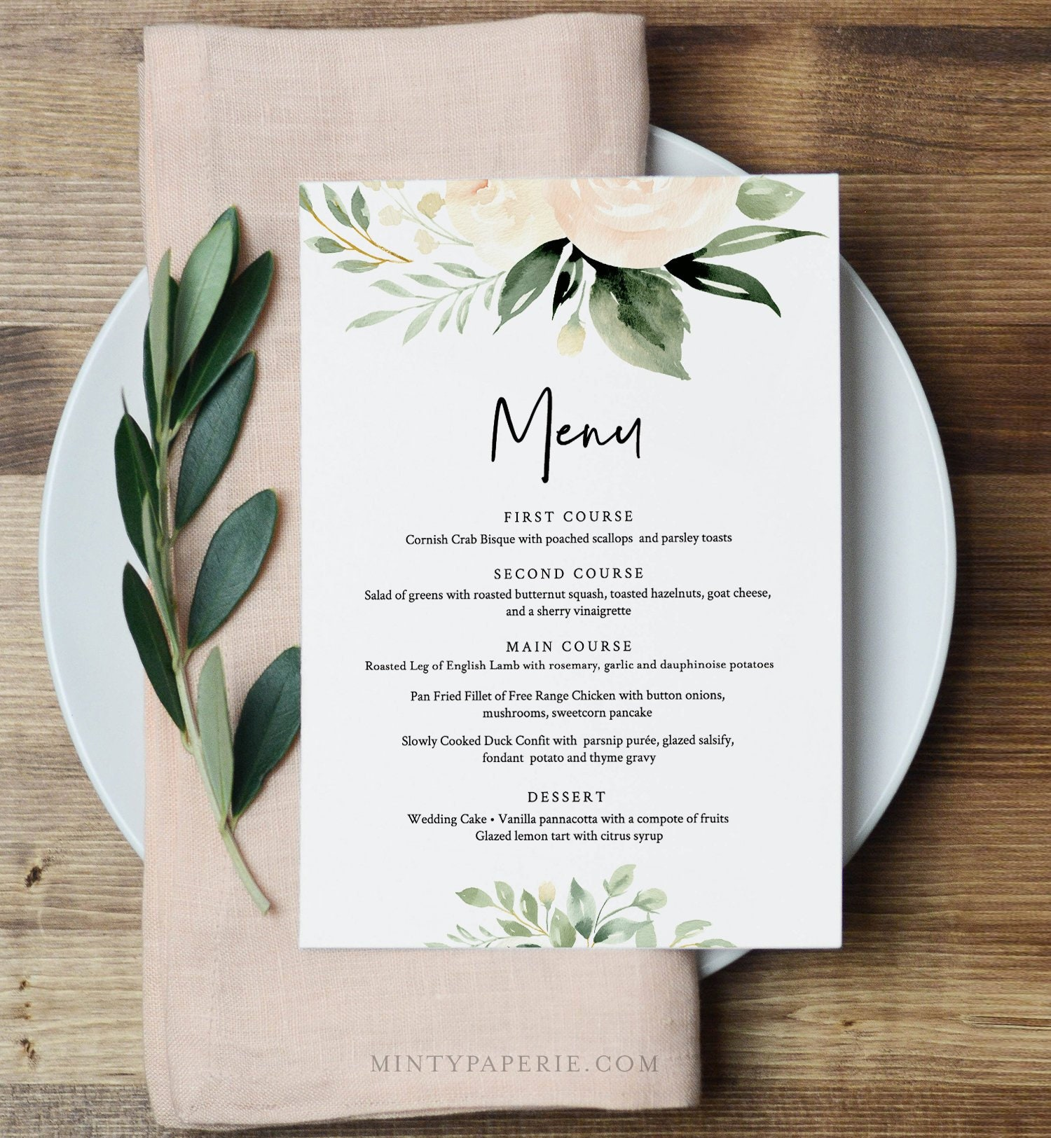 menu template boho floral greenery wedding menu card