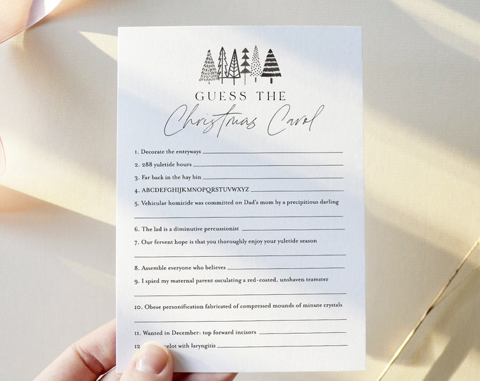 Christmas Carol Trivia Game, Holiday Party Game Printable, Guess the Christmas Song, Editable Template, Instant Download Templett 0025-127CG