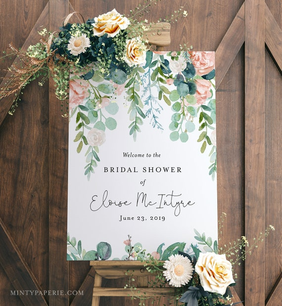 Bridal Shower Welcome Sign, Editable Template, Printable Wedding Welcome Sign, Lush Garden Boho, INSTANT DOWNLOAD, 18x24, 20x30 #068-142LS
