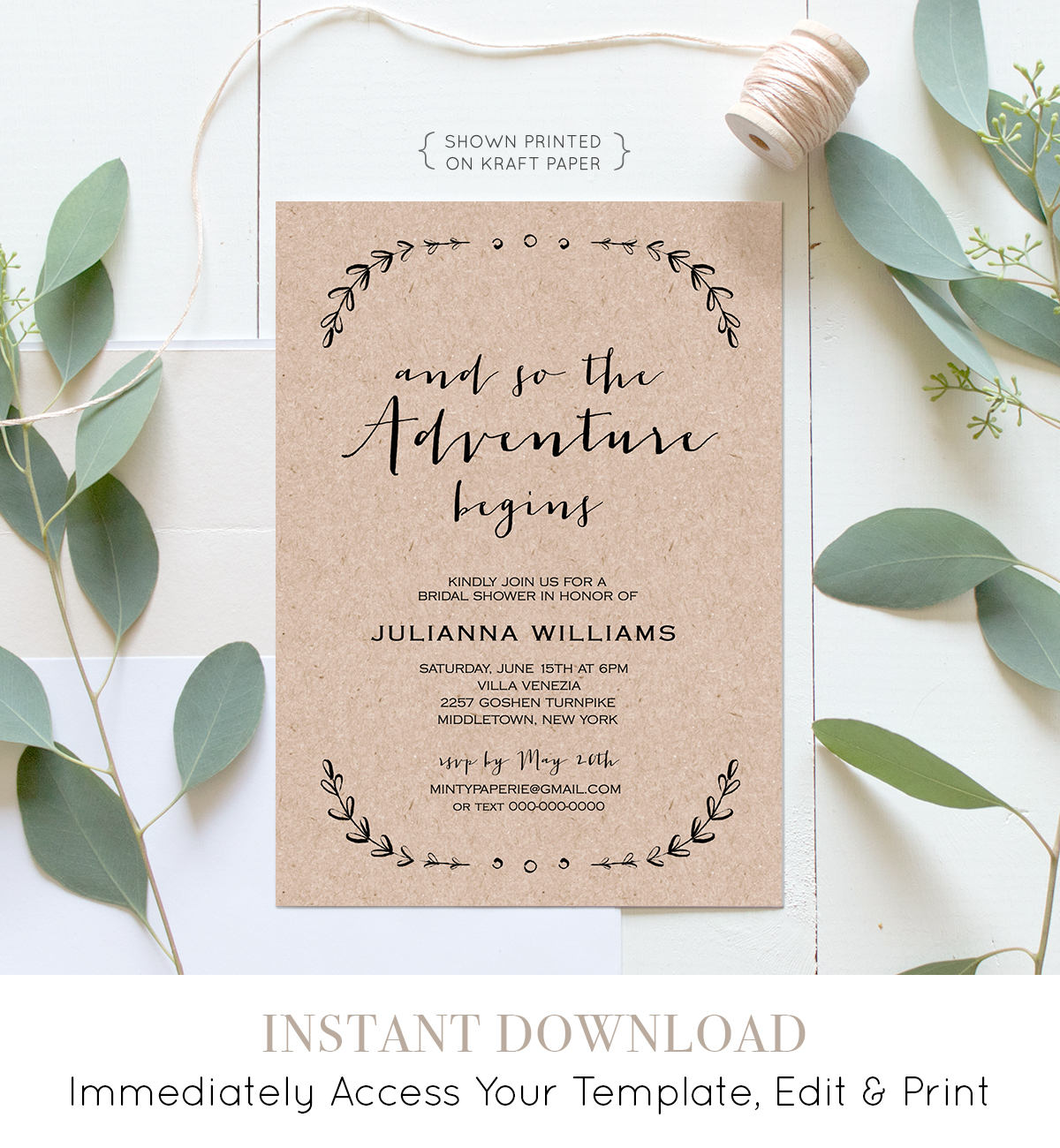 Printable Bridal Shower Invitation Template | Rustic Wedding Shower ...