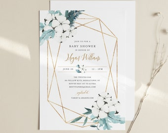 Winter Baby Shower Invitation Template, Editable Holiday Baby Shower, Christmas Shower, Cotton, INSTANT DOWNLOAD, Templett #091-138BA