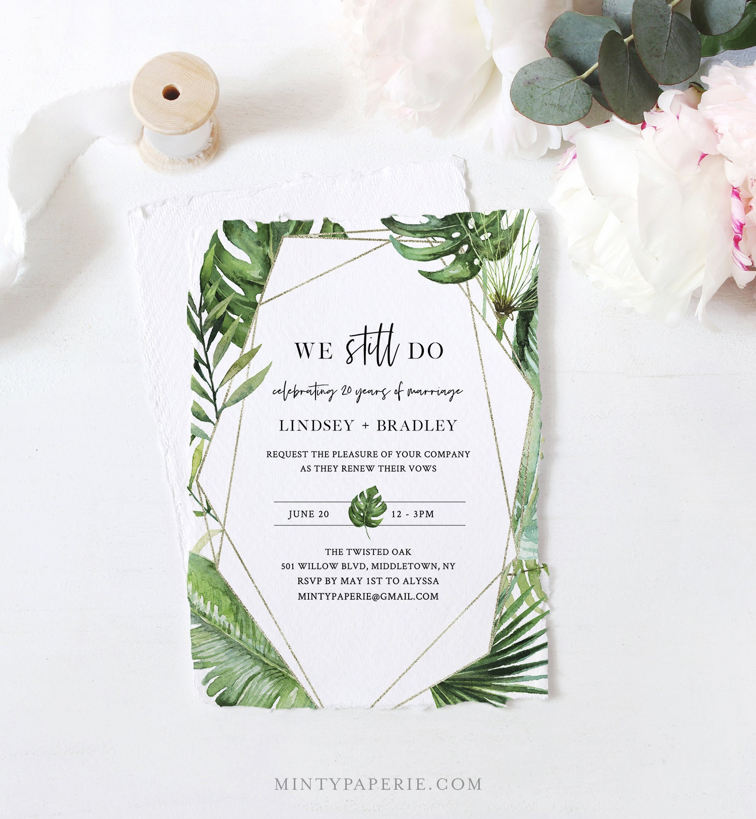 Tropical Vow Renewal Invitation Template Destination Beach