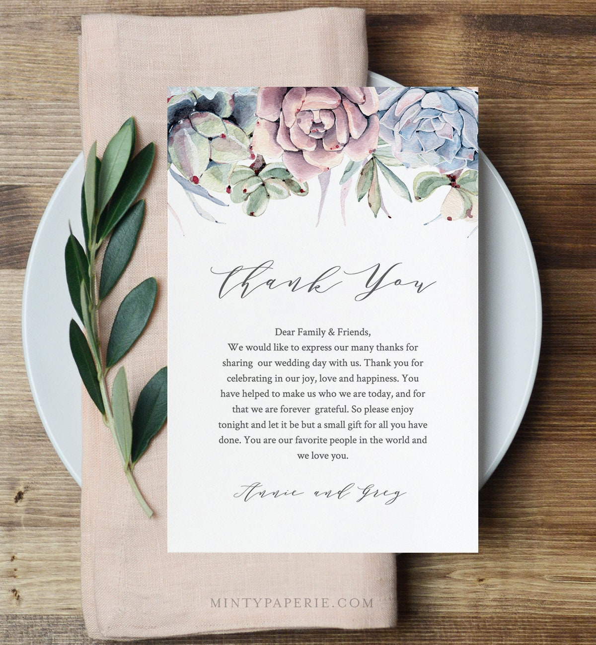 Succulent Wedding Thank You Letter Napkin Note In Lieu Of Favor