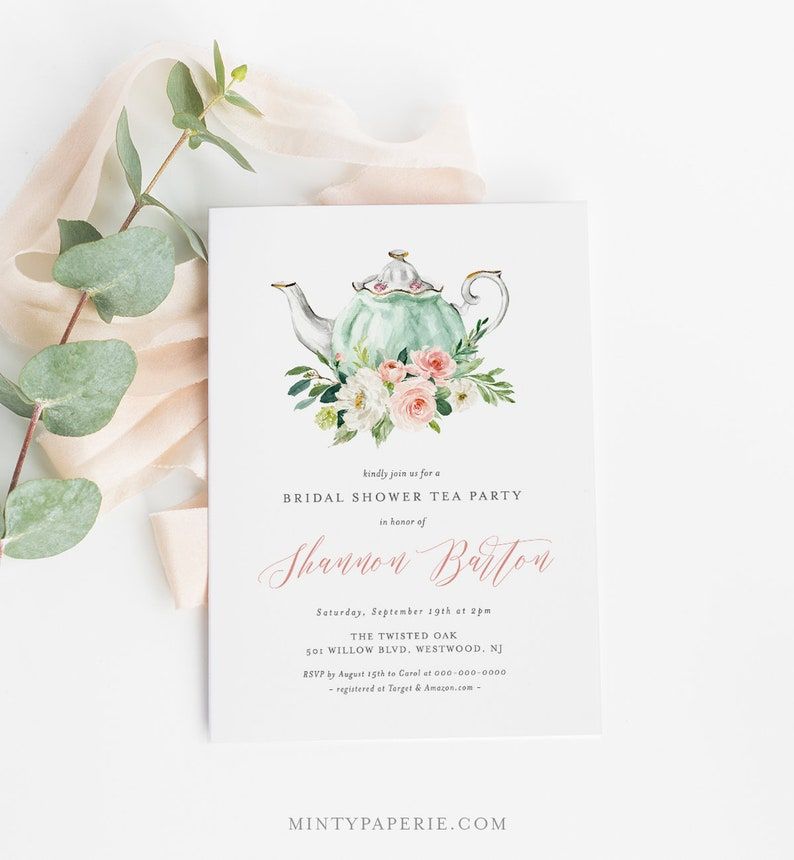 Bridal Shower Tea Party Invitation Template Printable Bridal Tea Shower Invite Bridal Brunch Editable Text INSTANT DOWNLOAD 085 184BS