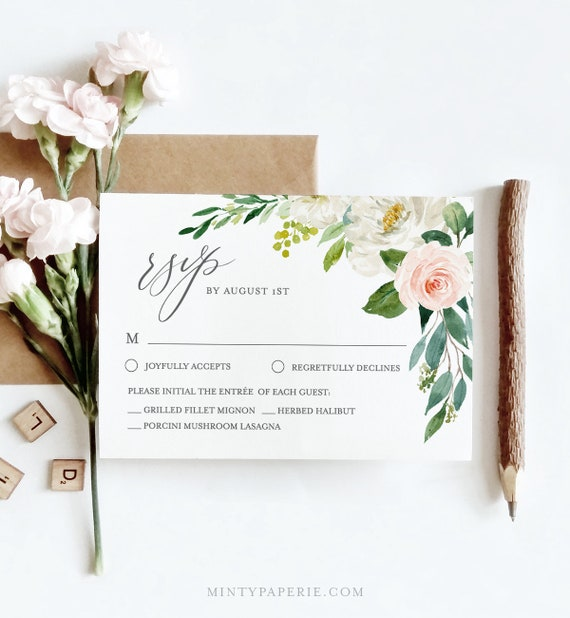 Self-Editing RSVP Card Template, Instant Download, 100% Editable Text, Blush Florals and Greenery Wedding RSVP Printable, Templett, DIY #043