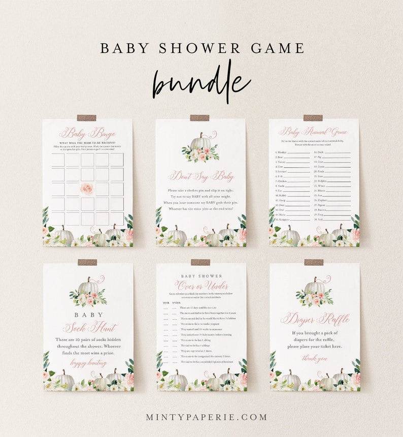Baby Shower Game Bundle Fall Pumpkin Baby Shower Templates image 0